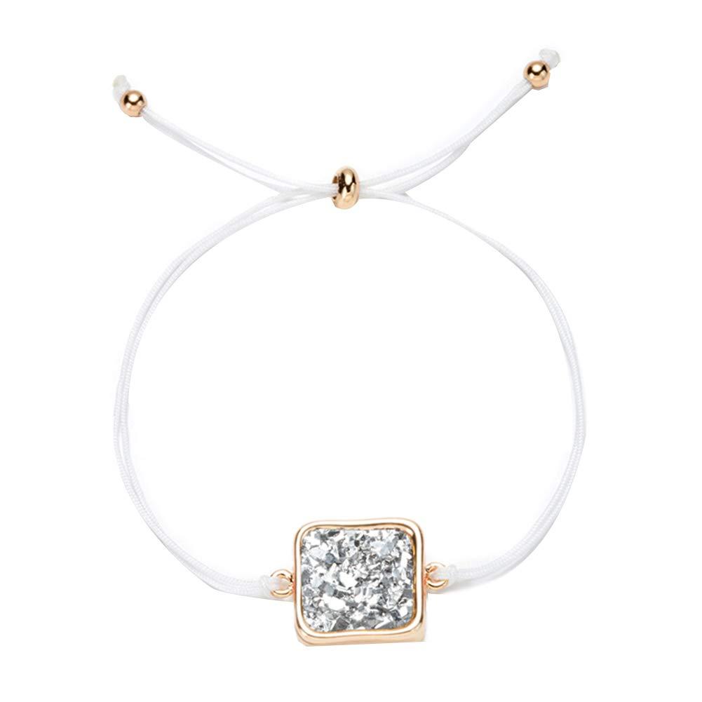 Everrikle Bracelet Bangle Jewelry,Simple Women Multicolor Faux Quartz Cluster Square Pendant Braided Rope Bracelet