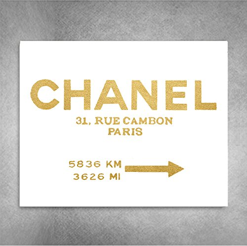 Chanel 31 Rue Cambon Paris Art Print (Gold on White) Couture Road Sign Minimalist Fashion Street Foil Art Print Wall Art 8x10 inches by The Accent Studio