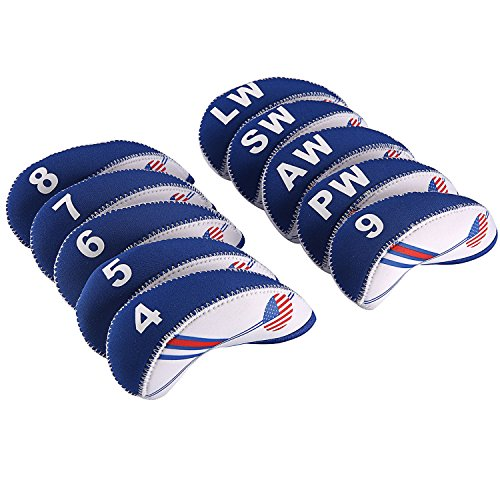Club Flag (OSOPOLA Golf Club Iron Head Cover USA Flag Neoprene Headcover White & Blue 10pcs)