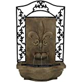 Sunnydaze French Lily Outdoor Wall Water Fountain, with Electric Submersible Pump, Florentine Stone, 33 Inch