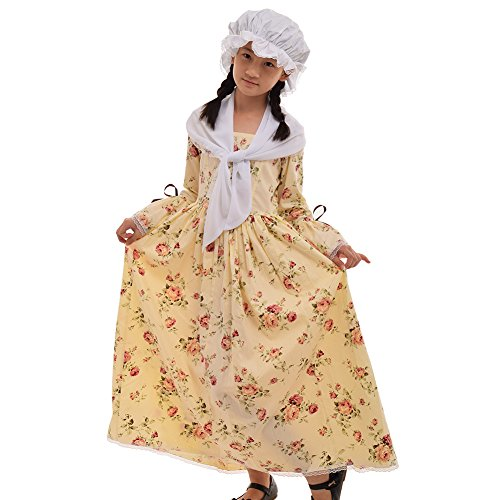 GRACEART Colonial Girls Dress Prairie Pioneer Costume 100% Cotton (5 Colors Option) (16, Yellow)