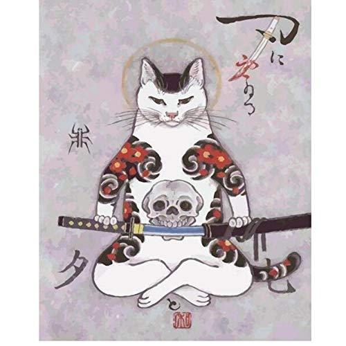 Diy pintura al óleo by números samurai cat tatuaje estilo japonés ...