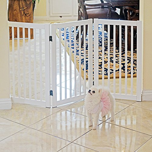 WELLAND Freestanding Wood Pet Gate (54-Inch, White)