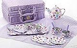 tin tea sets with basket - Delton Products Tin 20pc Tea Set in Basket, Polka,Purple