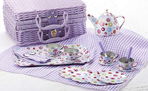 Delton Products Tin 20pc Tea Set in Basket, Polka,Purple]()