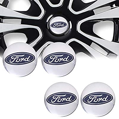 4PCS 56mm for Ford Wheel Cap Sticker Logo Badge for Ford Center Wheel Cap (Silver): Automotive