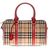 Burberry Women's Medium Alchester in Horseferry Check Bowling Bag Red