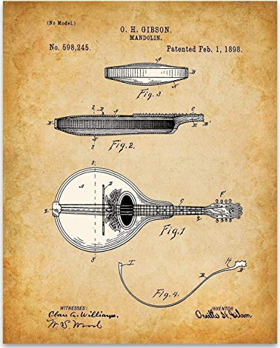 Mandolin - 11x14 Unframed Patent Print - Great Music Room Decor or Gift Under $15 for Musicians