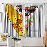 "Mozenou Ride The Wave Custom Curtains Surfer Puppy with Sunglasses and Tropical Hibiscus Flowers Hawaiian Dog Print Kid Blackout Curtains 63"" W x 72"" L Multicolor"