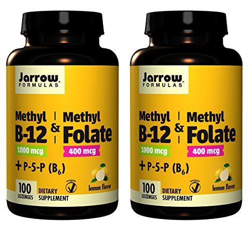 Jarrow Formulas Methyl B-12/Methyl Folate and Pyridoxal-5-phosphate (P-5-P) Lozenges, 200 Count