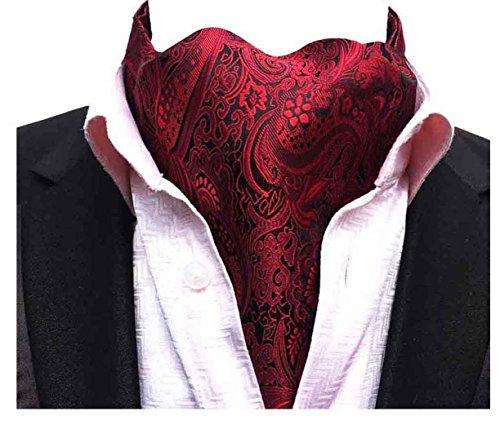 (MOHSLEE Men's 100% Silk Red Wine Paisley Ascot Woven Cravat Self Ties Neckties)