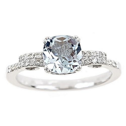 Amazon.com: 1,37 quilate de corte cojín aguamarina y anillo ...