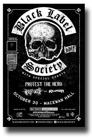 Black Label Society Poster - 11 x 17 Concert Promo w/ Protest The Hero (Label Society Poster)