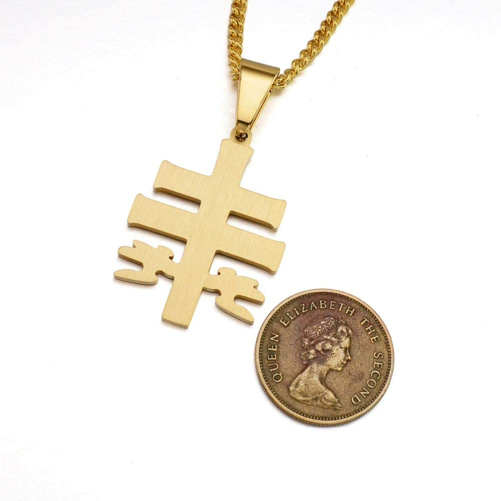 Gold Tone Stainless Steel Lorraine Cross /& Angels Pendant Necklace SS Chain 60 CM