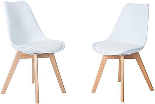 HJ WeDoo 4 x Wohnzimmerstuhl Esszimmerstuhl Bürostuhl mit Massivholz Buche Bein,Retro Design Gepolsterter Stuhl Küchenstuhl Holz, Weiß