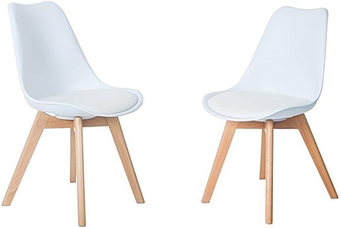 HJ WeDoo Lot de 2 chaises de Salle à Manger scandinaves, Chaises Rétro Tulip Bois de hêtre Massif Blanc