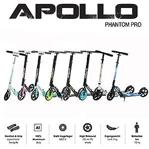 Apollo Trotinette aux Roues XXL – 200mm – Trotinette Freestyle de Ville Phantom Pro – City Scooter Pliable et à Hauteur Ajustable pour Adultes et Enfants