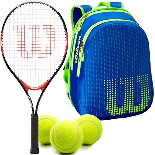 Wilson Federer 23 Inch Junior Tennis Racquet Set or Kit Bundled with a Neptune Blue/Solar Lime Kid's Tennis Backpack and a Can of Tennis Balls
