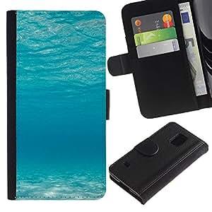 EJOY---Tirón de la caja Cartera de cuero con ranuras para tarjetas / Samsung Galaxy S5 V SM-G900 / --Océano azul