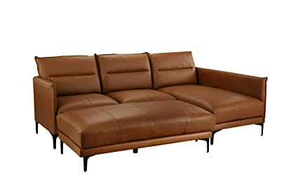 Mid Century Leather Sectional Sofa, L-Shape Couch with Rectangular Ottoman (Camel Brown)