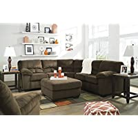Ashley Furniture Signature Design - Dailey Left Arm Facing Loveseat with Half Wedge - Contemporary Style - Chocolate