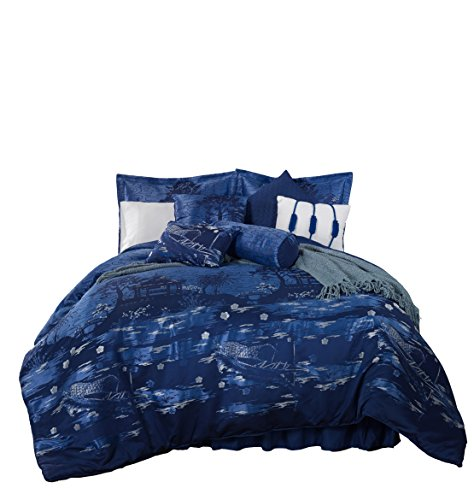 Chezmoi Collection Kochi 9 Piece Oriental Japanese Boat On The River - Jacquard Oversized Bedding Comforter Set (California King)