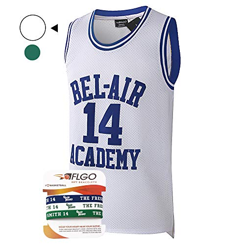 AFLGO Fresh Prince of Bel Air #14 Basketball Jersey S-XXXL White – 90's Clothing Throwback Will Smith Costume Athletic Apparel Clothing Top Bonus Combo Set with Wristbands (White, M)]()