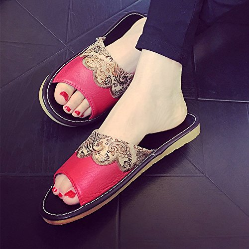 Summer Red Slippers Home and Base Couples Big Bedroom 40 Cool Soft fankou Indoor Continental Women Antique Slippers 39 Slip Anti Men wTxHXOOIqt
