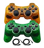 Molgegk Wireless Bluetooth Controller For PS3 Double Shock - Bundled with USB charge cord (Clear Orange and Clear Green)