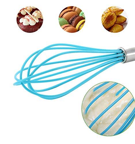 Ouddy 2 Pack Silicone Whisk, Balloon Whisk Set, Egg Frother, Milk and Egg Beater Blender - Kitchen Utensils for Blending, Whisking, Beating, Stirring
