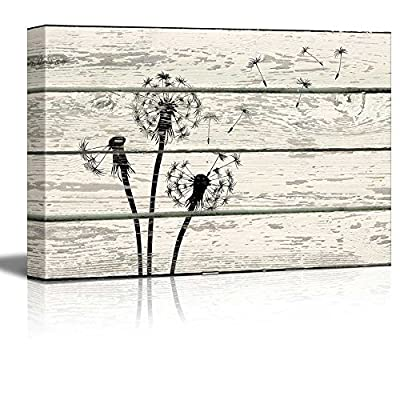 Dandelion in Wind Artwork - Rustic Canvas Wall Art Home Art - 12x18 inches