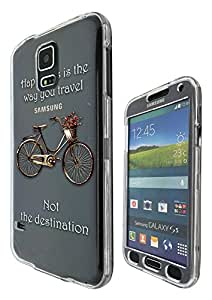 c0120 - Vintage Bicycle Happiness is the way you travel Design Samsung Galaxy S5 Mini Fashion Trend Hard Plastic Case Protective Full Case Front, Back & All Edges Protection Case Cover