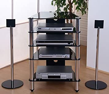 Hifi rack design  Schwarz Glas Hifi-Rack Turm Phono Tisch Design TV Rack Hifi Alu ...