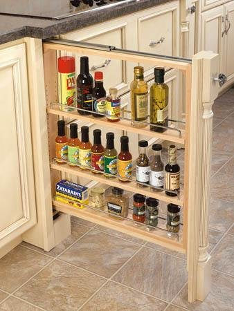 Rev-A-Shelf 432-BF-3C 432 Series 3 Base Filler Pull Out Organizer with Adjustab, Natural Wood
