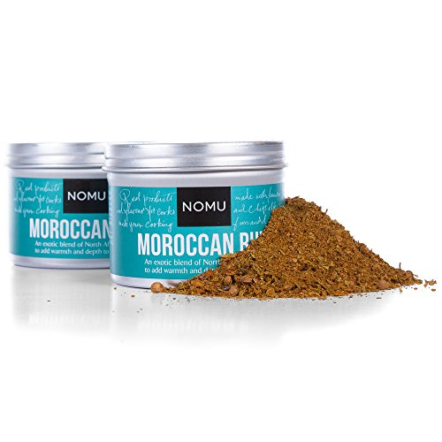 NOMU Moroccan Seasoning Rub (2-Pack) - Blend of 13 Spices - Paleo, Vegan, Non-Irradiated, No MSG or Preservatives (Rack Traditional Jar)