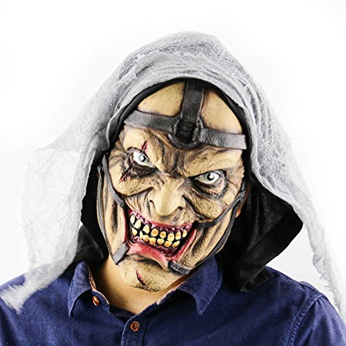 Real Predator Mask (QTMY Latex Rubber Grotesques Ugly Horrible Monster Mask for Halloween Party Costume)