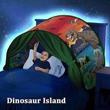 BOYKO Kids Play Tents Pop Up Bed Tent Kids Tent Mosquito Net, Children Playhouse for Outdoor Camping Birthday Gifts-Twin Size (Dinosaur Island)
