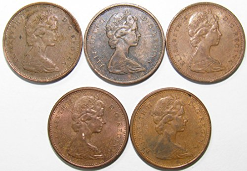 CA 1967 Lot of 5 Canadian 1 Cent Coins Fine-VF