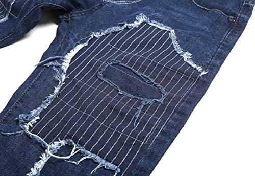Uomo Stile Vita Moda Semplice Jeans Media Strappati Blu Casual Distrutti Da Di Pantaloni Etero 1TRqY1w