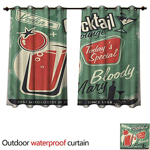 (WilliamsDecor Retro Outdoor Curtain for Patio Nostalgic Poster Bar Art for Todays Special Famous Cocktail Bloody Drink and Vodka W72 x L72(183cm x 183cm))