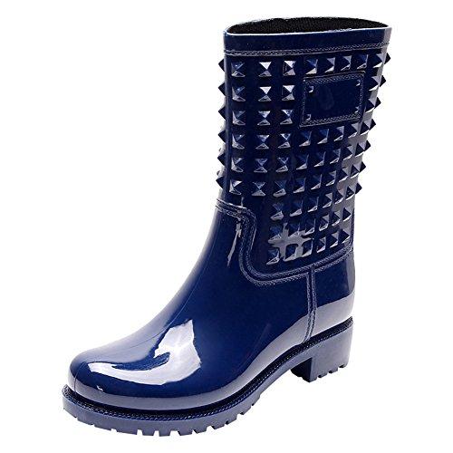 Elegante Botas Jamron Los Wellington Mujer de con Punky Nieve Pernos Al Aire Botas Talón Pierna Azul Ponerse de Lluvia Libre Media del Grueso Estilo 5Z5acUr