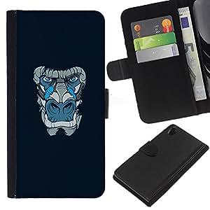 KLONGSHOP // Tirón de la caja Cartera de cuero con ranuras para tarjetas - Gorila Mono Azul - Sony Xperia Z2 D6502 //