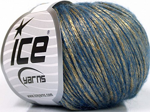 Rock Star, Gold Blue, Metallic Shine, Soft Nylon Merino Wool Acrylic Blend Yarn, 50 Gram - Yarn Shine Worsted