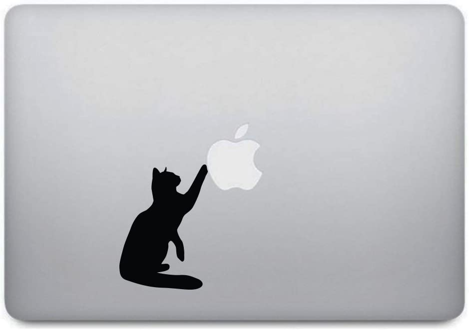 Black Cat Macbook Decal - Kitten Curious Cat Kitty Sticker Removable Vinyl Skin for Apple Macbook Pro Air Mac Laptop - Black