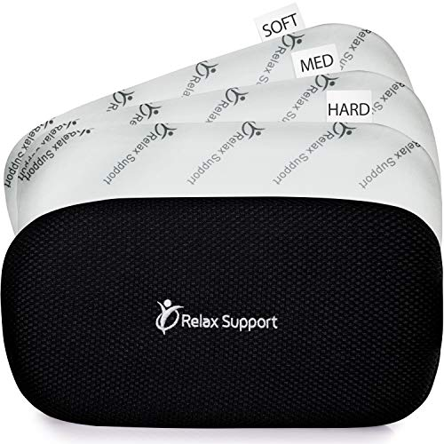 Lumbar Support Pillow Back Support Pillow RS5 Relax Support - Back Support Cushion Foam Posture Corrector for Car Office Plane - Only Back Pillow w/Multiple Inserts for 6 Customized Firmness Levels