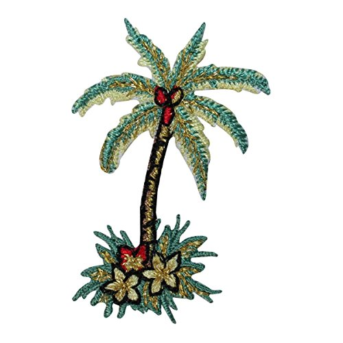 ID 1729 Tropical Palm Tree Patch Beach Scene Coconut Embroidered IronOn Applique