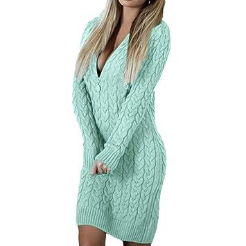1bef1ed5f2 Amazon.com  Sexy Women Zipper V Neck Long Sleeve Knitted Sweater ...