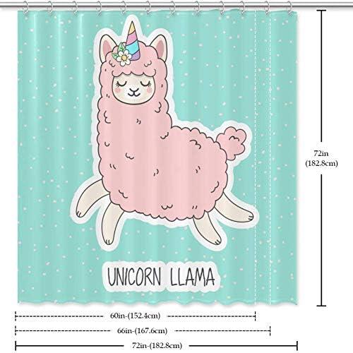 Amazon Com Heoeh Cute Cartoon Unicorn Llama Fabric Shower Curtain Waterproof Bathroom Polyester Shower Curtain For Bathtub Showers 66 X 72 In Home Kitchen