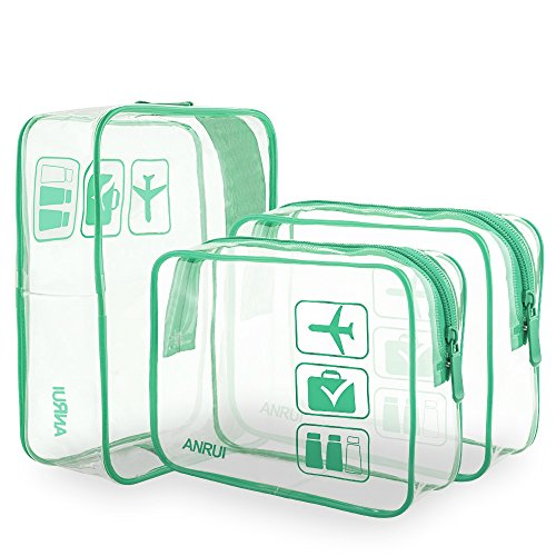 ANRUI Clear Toiletry Bag TSA Approved Travel Carry On Airport Airline Compliant Bag Quart Sized 3-1-1 Kit Travel Luggage Pouch 3 Pack (Turquoise) ()