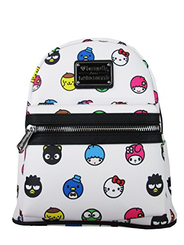 Loungefly Hello Sanrio Circle AOP Mini Backpack (One Size, White)
